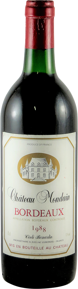 Chateau Mondain  Bordeaux 1988